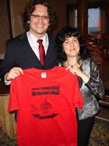 Donato Cabrera, Conductor of SF Symphony's Youth Orchestra, with Rozalina Gutman (C.H.A.R.I.S.M.A.Foundation), showing support to the Advocacy for Music Education message.