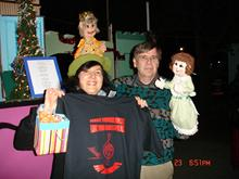 Ms. Gutman (of C.H.A.R.I.S.M.A. Foundation) honors the master-puppeteer Randal Metz after his virtuosic one-man show of the �Nutcracker� by Tchaikovsky, with the t-shirt that proclaims the special message of advocacy for music education, and with the authentic Russian candies, followed by the cheering and long-lasting applause of the appreciative audience at Fairyland, Oakland, CA, USA.  �Our books teach you to be polite and kind, Our theater will help you speak your mind�  Magic is possible in Fairyland, Where music tunes souls to ignite�� � are the lyrics from the last verse of her brand new children song �Let�s Go To Fairyland� that she also presented to Mr. Metz.  (Ms. Gutman is the Russian-born and trained (currently residing in Berkeley, CA, USA), internationally recognized music educator, pianist, composer, member of the Bay Area Puppeteer�s Guild, and passionate advocate for the arts/music education.  She led Int�l Symposium on Advocacy for Music Education at 29th World Conference of ISME�2010; more info: http://charismafoundation.org/advocacyintlsymposium.html )