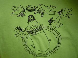 t-shirt calls for choosing creativity over violant content of games and toys, promotes peace, multicultural education, tolerance, music education, designed by children for kids, includes tutorial for memorization of piano keys' names